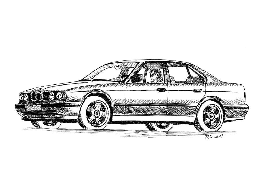 Bmw Drawing - Bmw M5 E34 by Milan Surkala