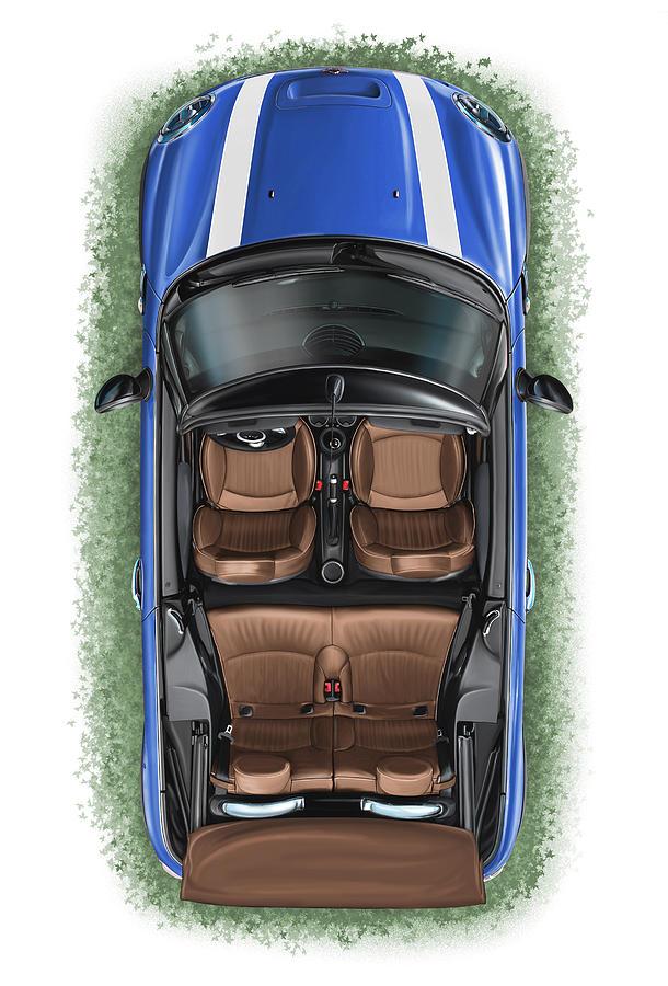 bmw mini cooper s cabrio blue digital art by david kyte. Black Bedroom Furniture Sets. Home Design Ideas