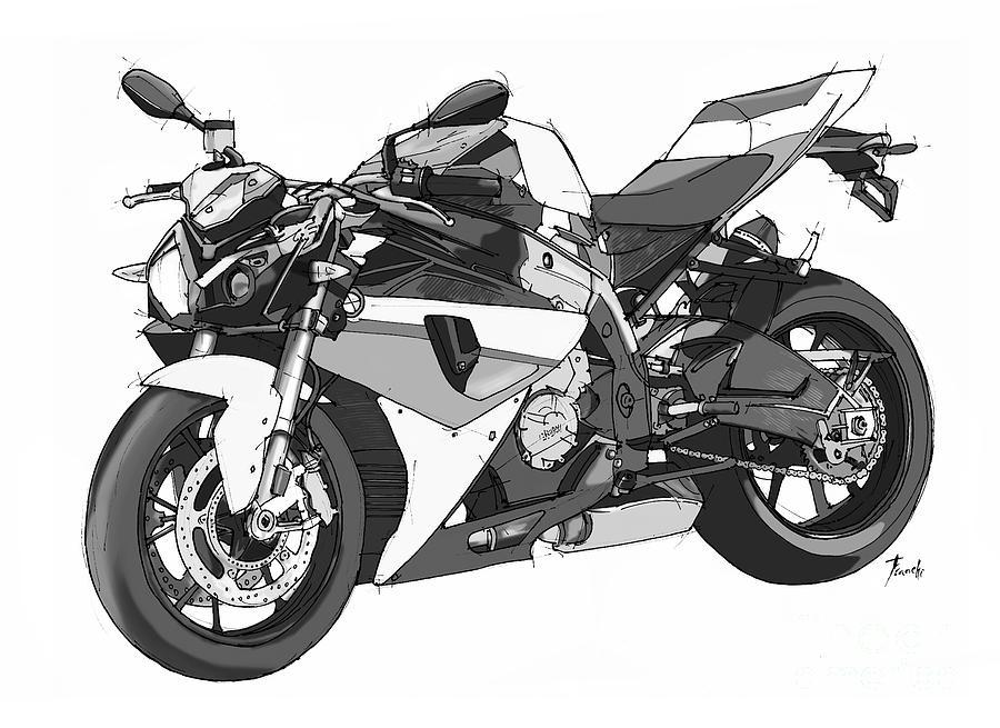 Bmw Drawing - Bmw S 1000 R 2013 by Drawspots Illustrations
