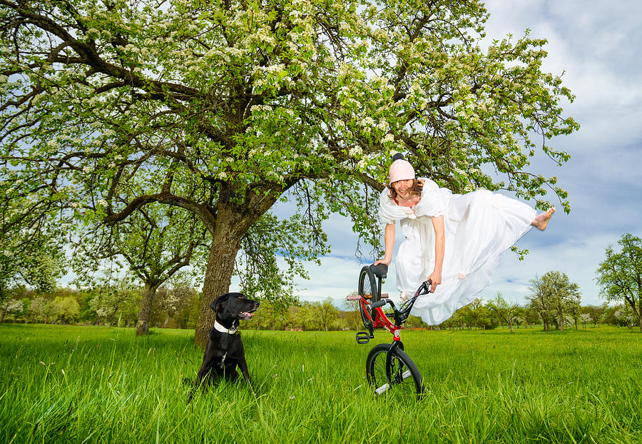 Bmx Flatland Bride Jumps In Spring Meadow Photograph
