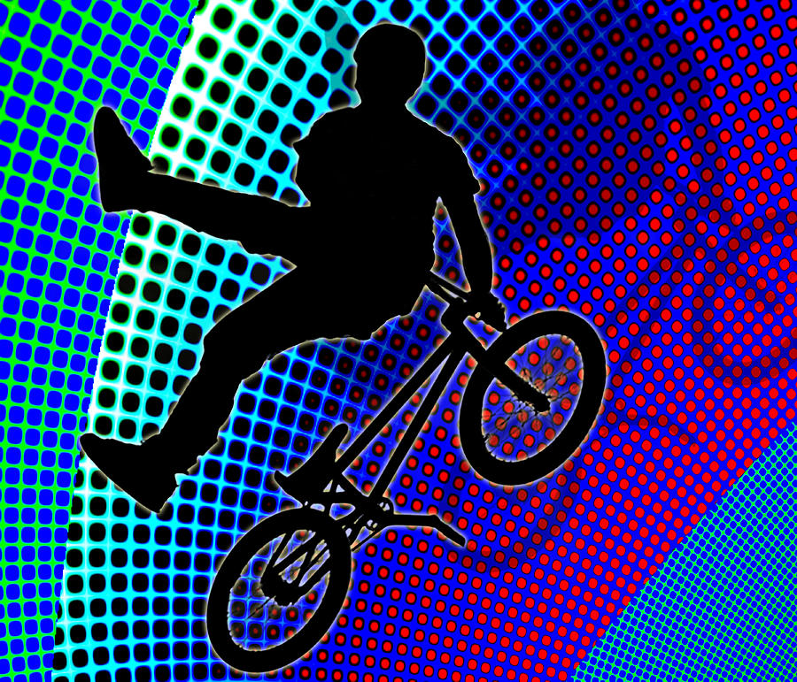 Bmx In Fractal Movie Marquee Painting by Elaine Plesser