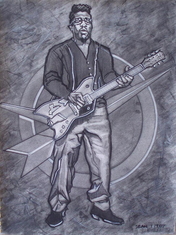 Bo Diddley - Have Guitar Will Travel Drawing by Sean Connolly