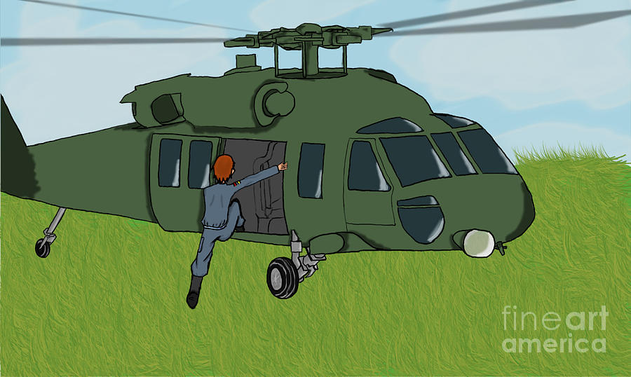 Helicopter Digital Art - Boarding A Helicopter by Yael Rosen