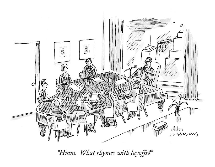 Boardroom With Boss Speaking At Piano Shaped Drawing by Mick Stevens