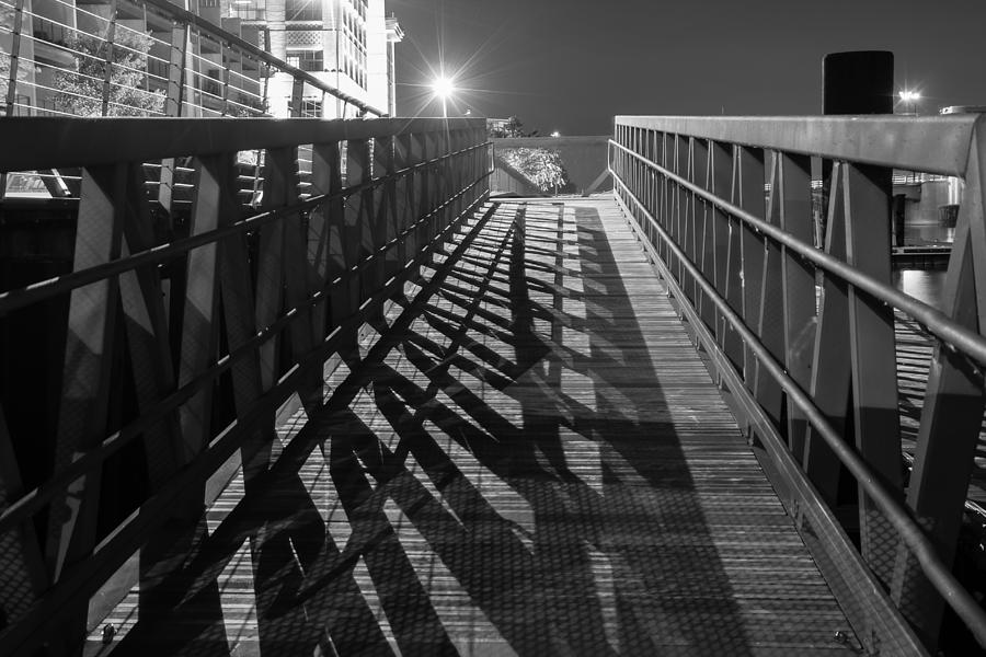 Black And White Photograph - Boardwalk at Night by Nikki Vig