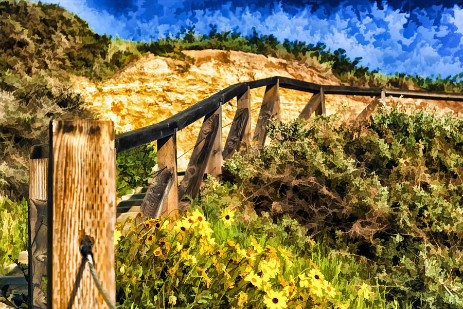California Painting - Boardwalk Steps by Anthony Citro