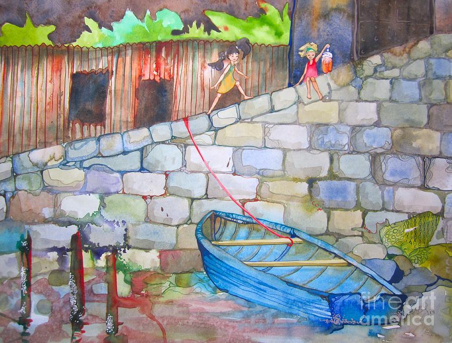 Stone Painting - Boat Along The Wall by Maya Simonson