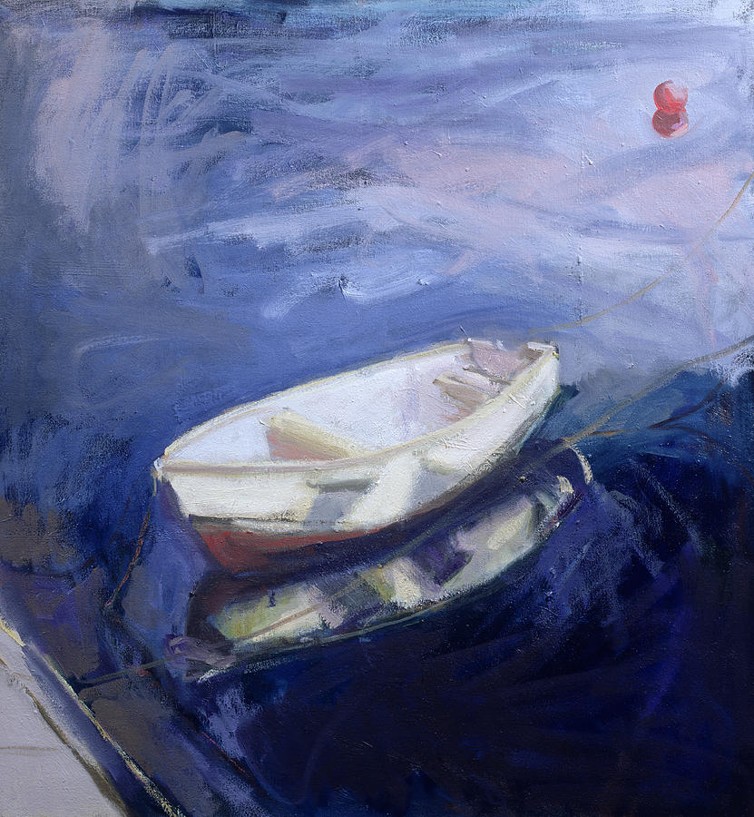 Rowing Painting - Boat And Buoy by Sue Jamieson