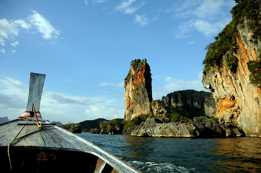 Rock Photograph - Boat And Rock by Money Sharma