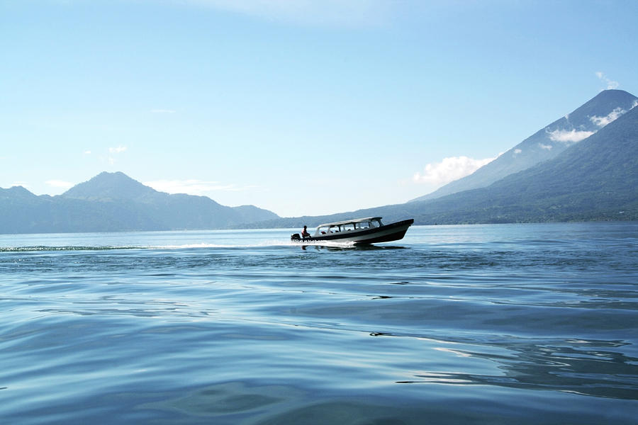 Boat At Full Speed On Lake Atitlan In Photograph by Lubilub
