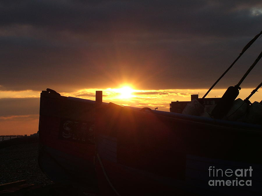 Boat Photograph - Boat At Sunset by Mark Bowden