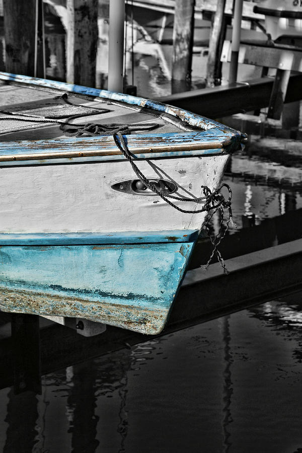 Boat Bow Photograph - Boat Bow In Black White And Blue by Lynn Jordan