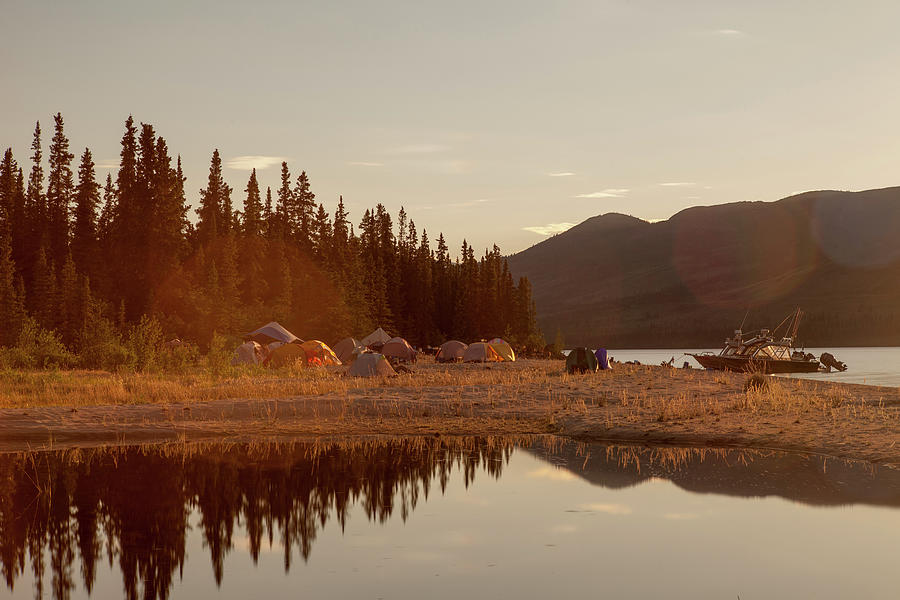 Boat Camping Photograph by Richard Legner