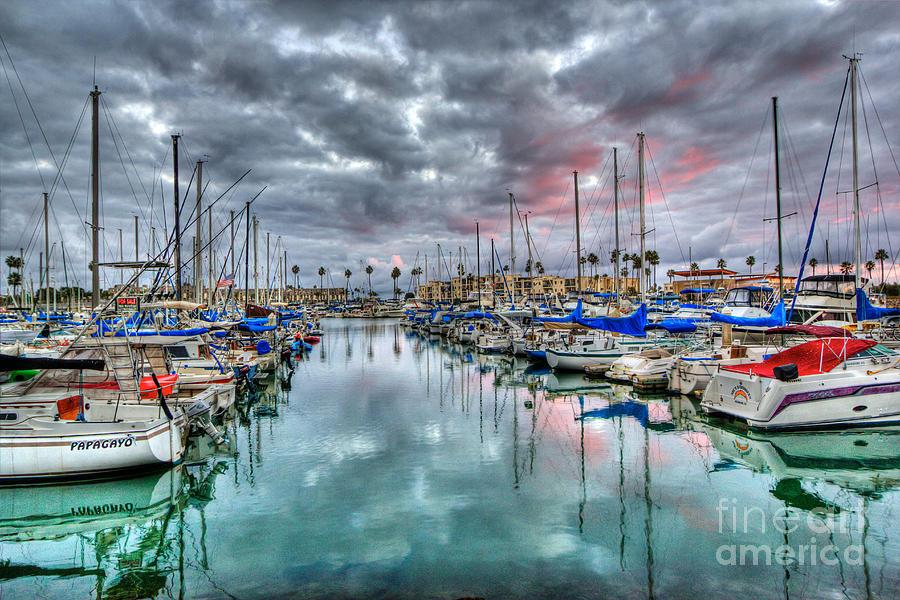 Boat Harbor Stormy Sunset In Oceanside California