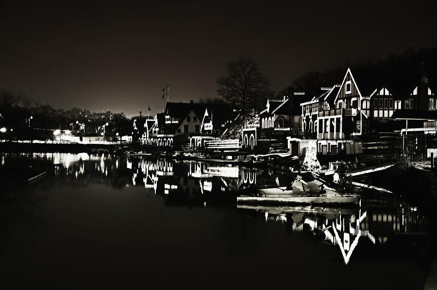 Boat Photograph - Boat House Row - In The Dark Of Night by Bill Cannon