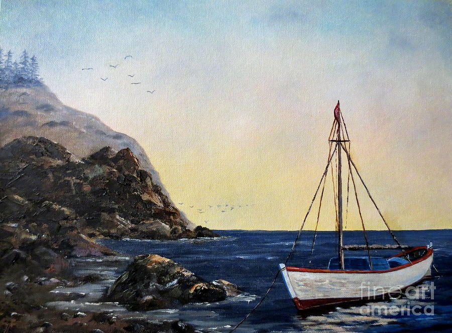 Ocean Painting - Boat In Maine by Lee Piper
