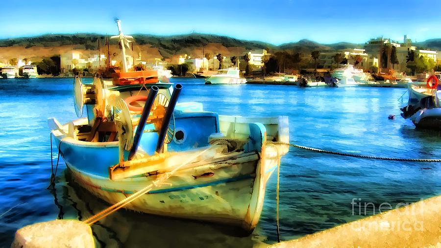 Boat In Marina Digital Art