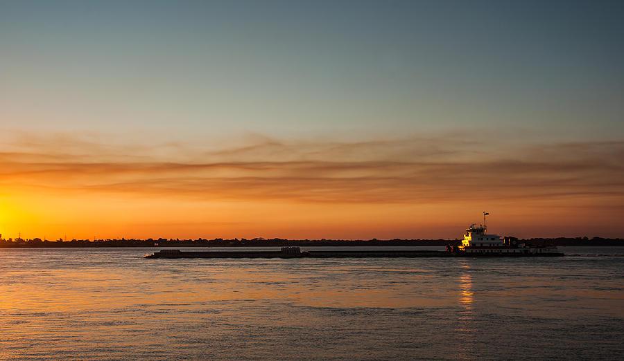 Landscape Photograph - Boat In Sunset by Carlos V Bidart