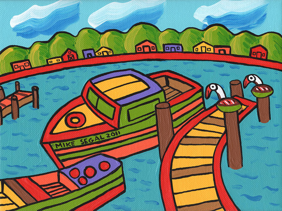Boat Painting - Boat In The Bayou - Cedar Key by Mike Segal