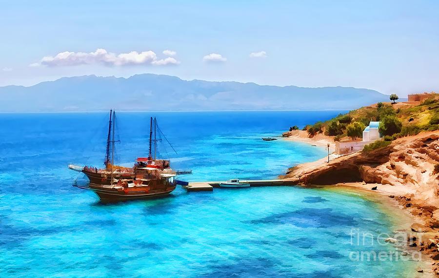 Boat In The Greek Island Pserimos Digital Art