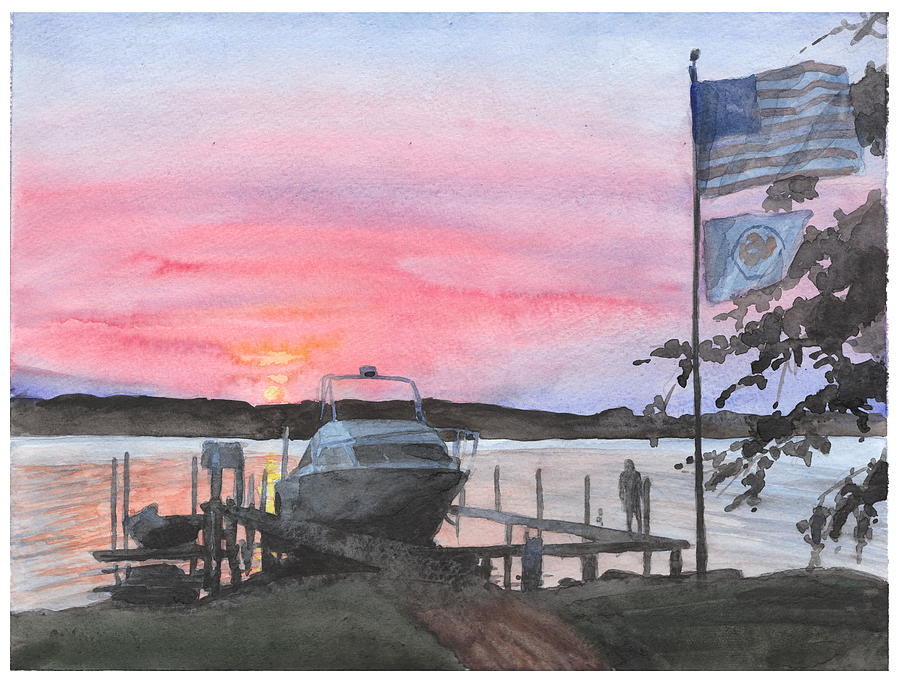 Boat Lake Sunset Watercolor Painting  Drawing by Mike Theuer