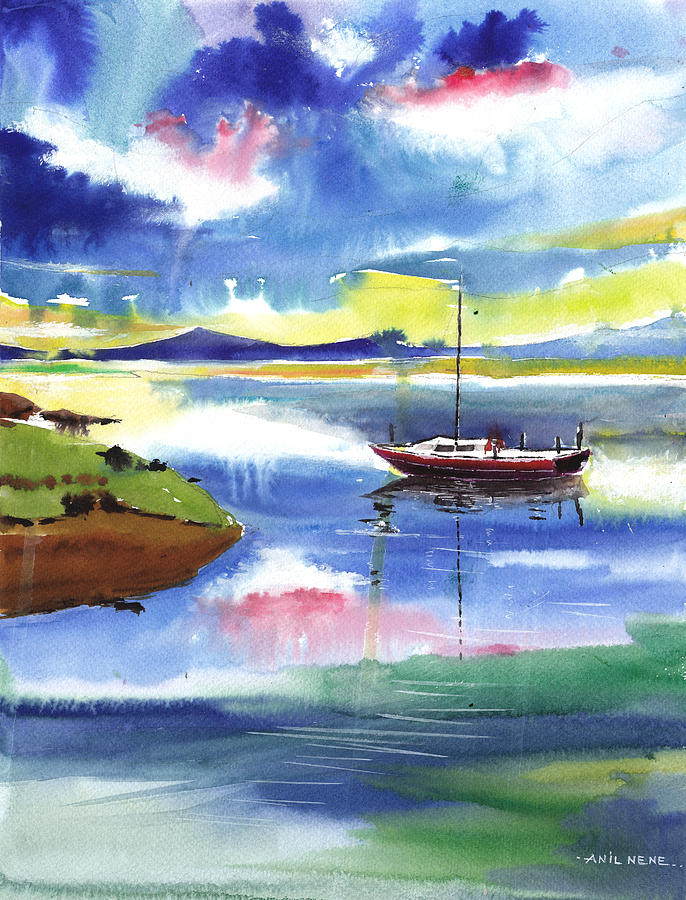 Nature Painting - Boat N Colors by Anil Nene