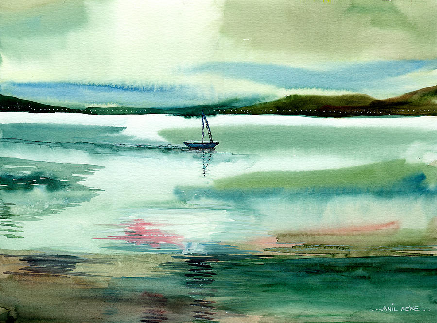 Water Painting - Boat N Creek by Anil Nene