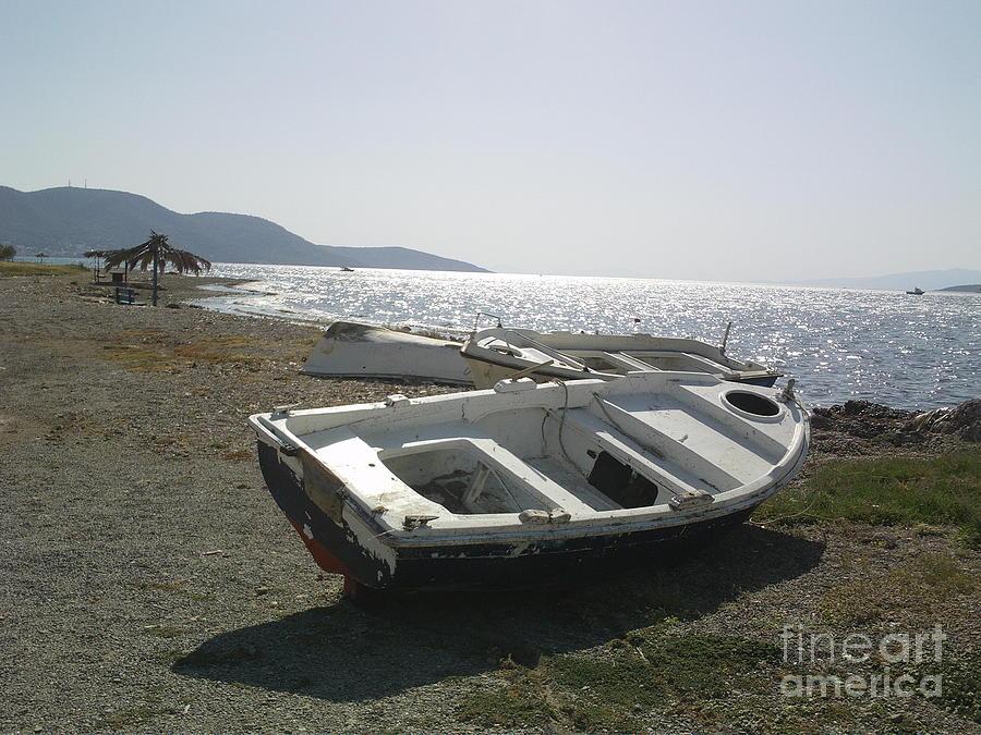 Boat Photograph - Boat On Alyki Beach by Katerina Kostaki