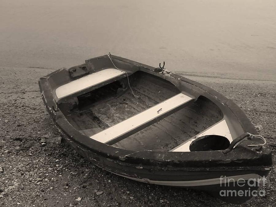 Attica Photograph - Boat On Black by Katerina Kostaki