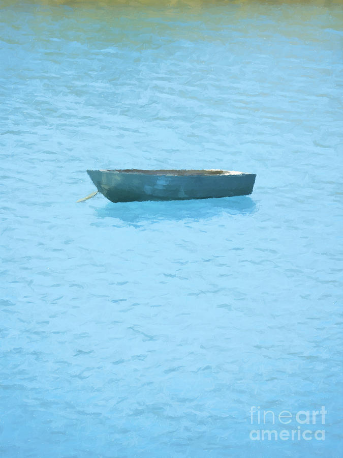 Boat On Blue Lake Painting