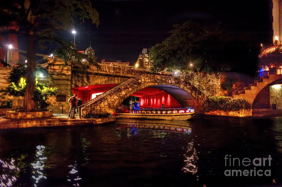 Boat Photograph - Boat on canal Riverwalk San Antonio at night by Dan Friend
