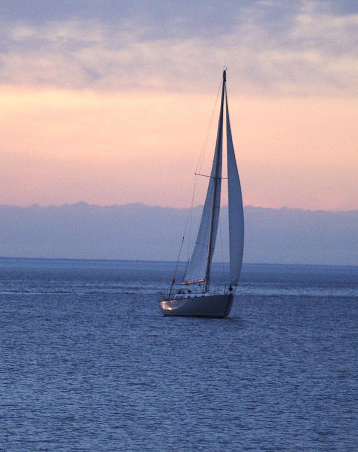 Susan Photograph - Boat On Lake Michigan by Susan Crossman Buscho