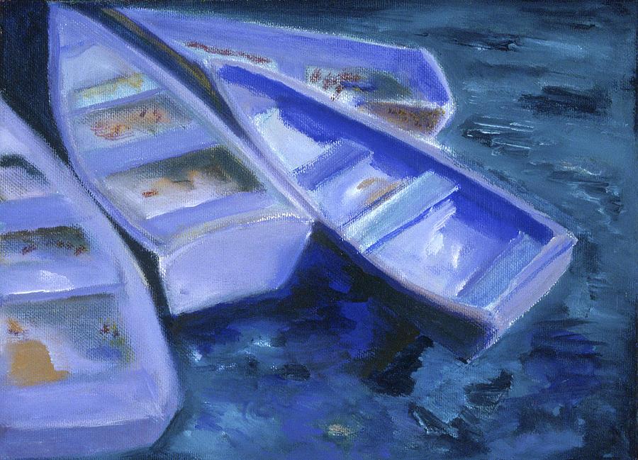 Boat Painting-Moored Rowing Boats-Barbara J Hart by BARBARA J HART