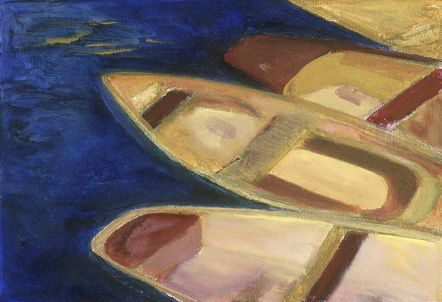 Boat Painting-Red Skiffs-Barbara J. Hart by BARBARA J HART