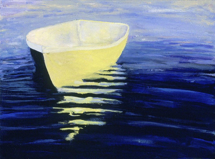 Boat Painting - Yellow Boat in Calm Water by Barbara J Hart by BARBARA J HART