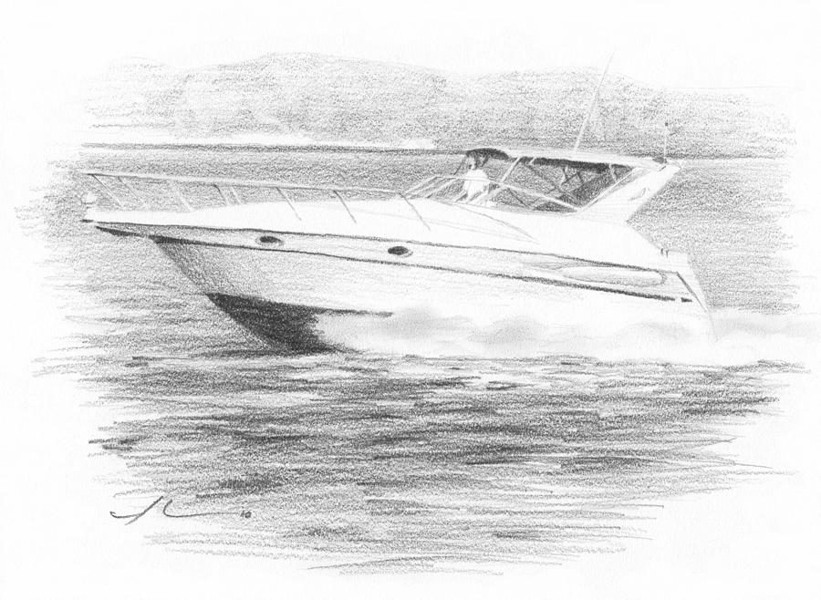 Boat Pencil Portrait Drawing by Mike Theuer