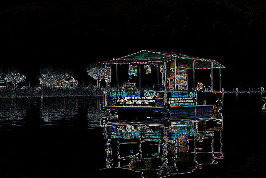 Dal Lake Digital Art - Boat Restaurant by Vijinder Singh