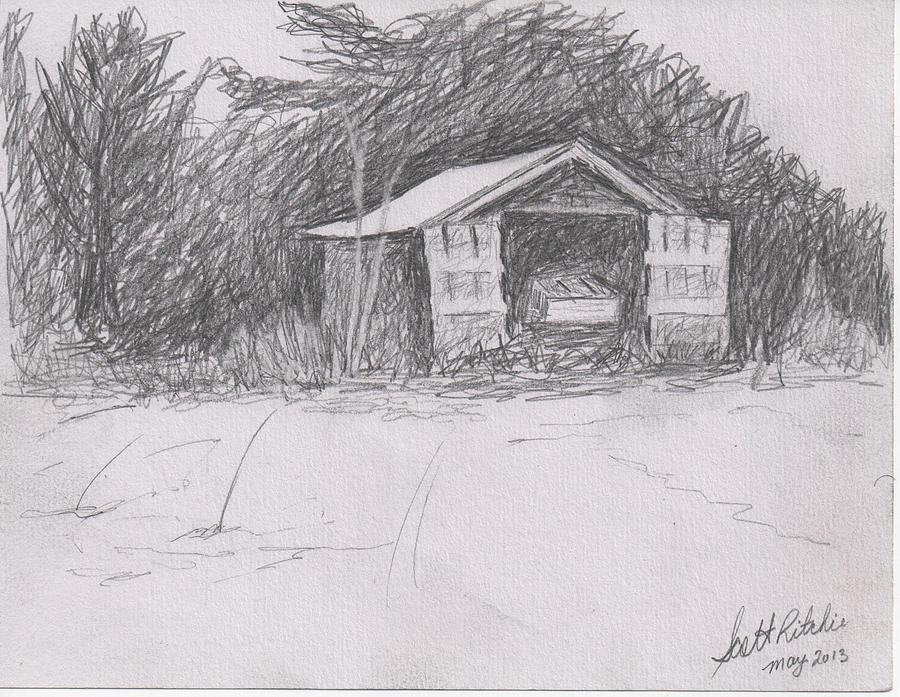 Boat Shed Drawing by Scott Ritchie