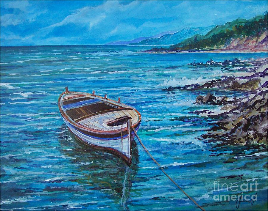 Boat Painting by Sinisa Saratlic