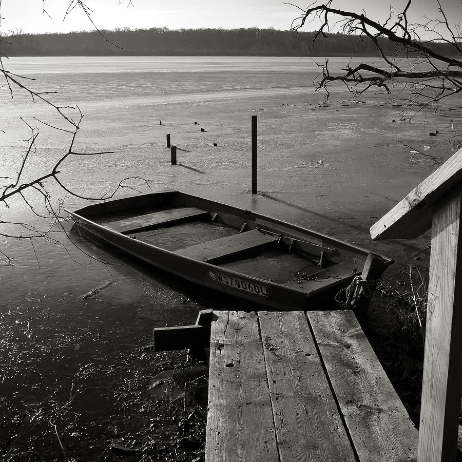 Ice Photograph - Boat In Ice - Lake Wingra - Madison - Wi by Steven Ralser