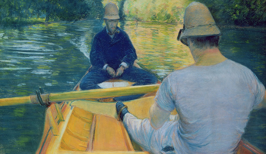 Boater Painting - Boaters On The Yerres by Gustave Caillebotte
