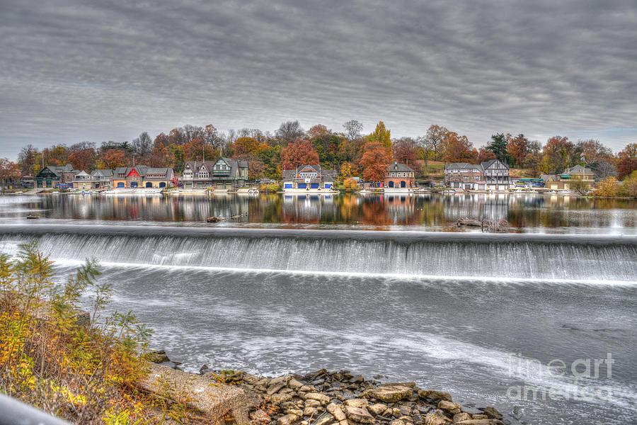 Philadelphia Photograph - Boathouse Row Across The Dam by Mark Ayzenberg