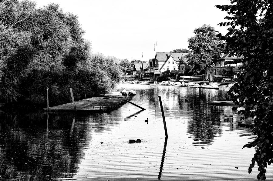 Boathouse Row Photograph - Boathouse Row Lagoon In Black And White by Bill Cannon
