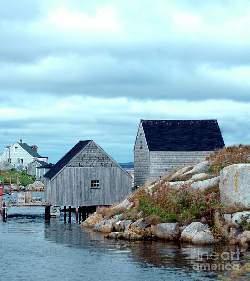 Blue Photograph - Boathouses by Kathleen Struckle