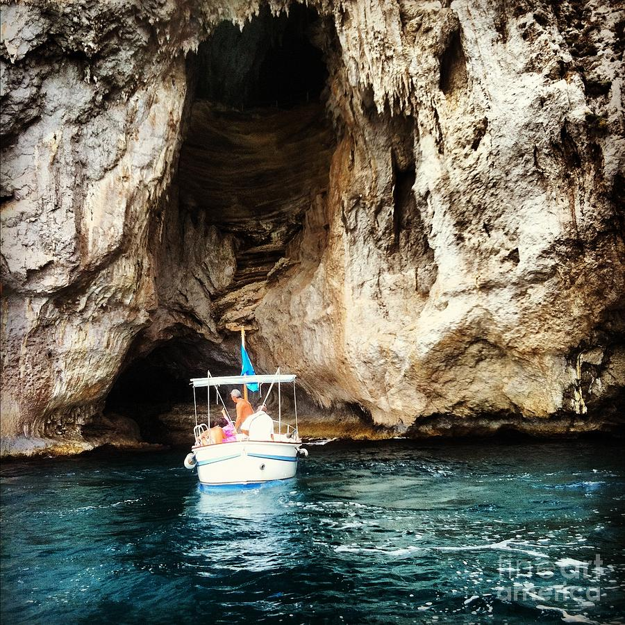 Capri Photograph - Boating In The Grotto by H Hoffman
