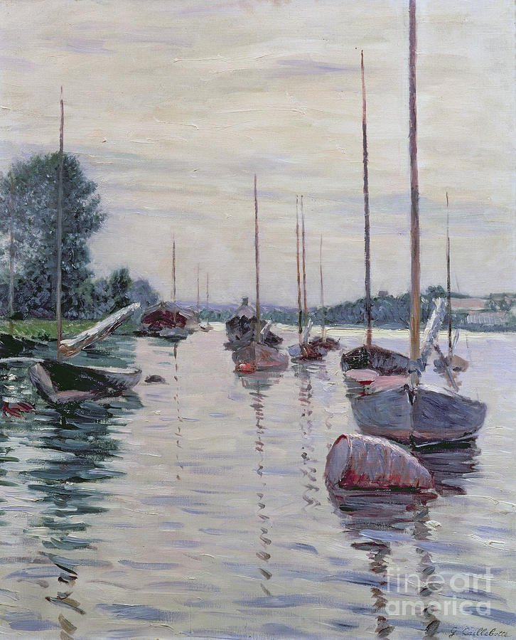 River Painting - Boats Anchored On The Seine by Gustave Caillebotte