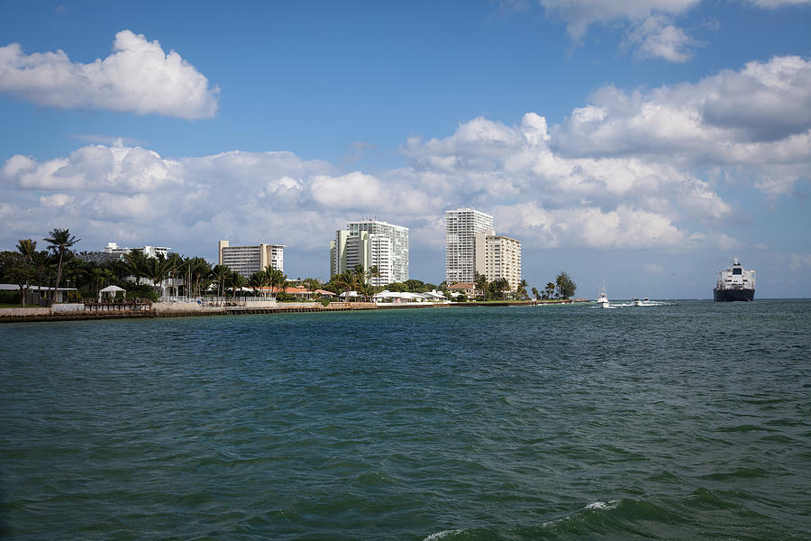Boats And Cargo Ship, Ft. Lauderdale Photograph by Juan Silva