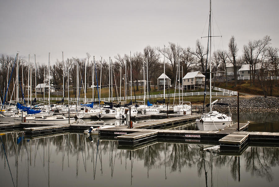 Boats And Cottages Overcast Day Photograph - Boats And Cottages On Overcast Day by Greg Jackson