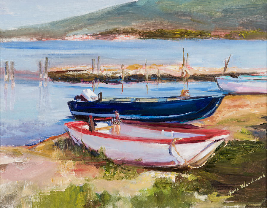 Jane Woodard Painting - Boats At Lake Tresimeno by Jane Woodward