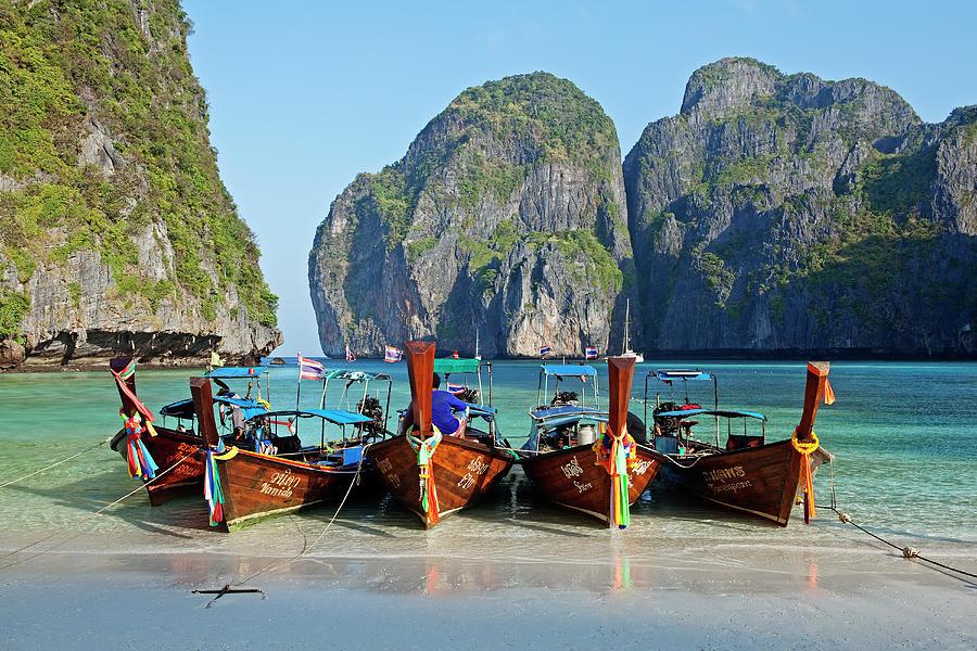 Tranquility Photograph - Boats At Maya Bay, Phi Phi Ley by John W Banagan